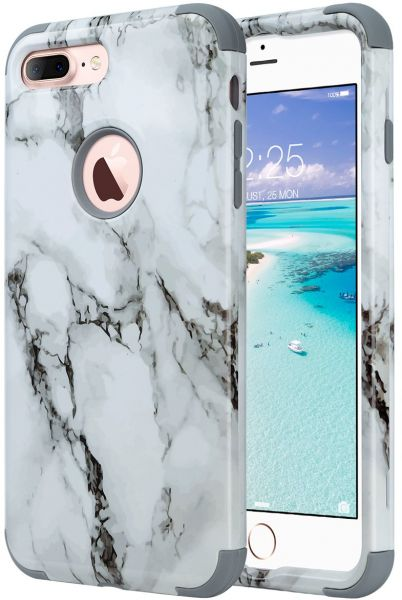 pretty nice ed0d8 a63ce ULAK iPhone 7 Plus Case, Heavy Duty Slim Shockproof Drop Protection 3 in 1  Hybrid Hard PC Covers Soft Rubber Bumper Protective Case for iPhone 7 Plus  ...