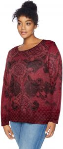 0e15870860197b OneWorld Women s Plus-Size Long Sleeve Printed Top with Bling