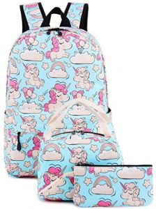 5a786624e04d Waterproof and oil-proof breathable laptop backpack breathable printed  unicorn backpack School Teens Kids Set Bookbag Lunch Tote Bag (Blue - Pink  Unicorn ...