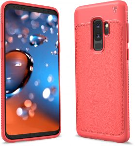 Samsung Galaxy S9 Plus Case, Luxury Ultra Slim Resistant Shock Absorption Soft TPU Protective PU Leather Cover Red