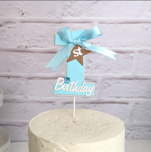 1st Birthday Boys Cake Topper