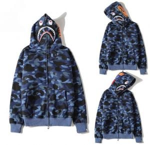 e895c902ae9 Bape Shark Pullover Hoodie Classic Unisex Blue Hooded Sweatshirt For Men  And Women