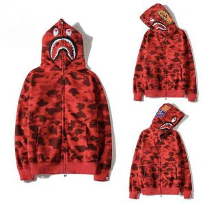 954fed5378e Bape Shark Red Classic Pullover Hoodie Unisex Hooded Sweatshirt For Men And  Women