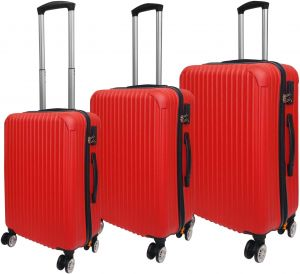 8b9d7443e4b4 HighFlyer Trinity Series 3 Pc Trolley Hard Luggage Bag Set - Red