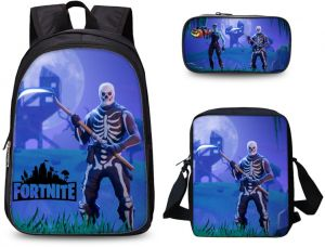 0ceff23793 3 PCS set Fortnite Game 3D Print Boys School Backpack Insulated ...