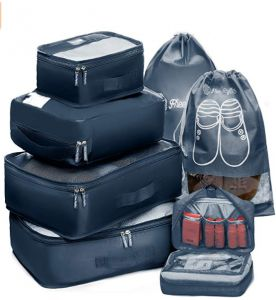 995024f37fe2 Packing Cubes Travel Set 7Pc 2 Large Cube Organizer Laundry Shoe   Toiletry  Bag With Bra Underwear Cube and Shoe Pouch