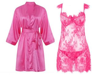 IngerT 4Pcs Bridal Sleepwear Set Slips Silky Long Sleeves Robe with See  through Dress and Pantie for Women b4f4f4257