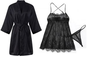 d9efa7746 IngerT 4Pcs Nightwear Wedding Night Out Dress Set Silk Like V Neck Short  Robe with Sexy Lace Dress and Panty for Women