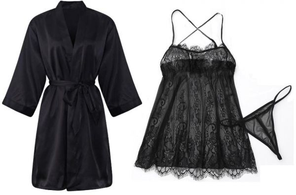c325c48e207 IngerT 4Pcs Nightwear Wedding Night Out Dress Set Silk Like V Neck Short  Robe with Sexy Lace Dress and Panty for Women