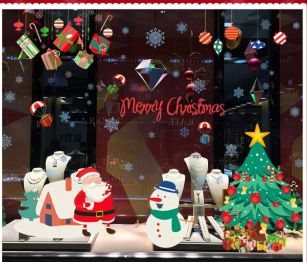 DIY Christmas Wall Stickers Window Glass Festival Decals Santa Murals New Year Christmas Decorations for Home Decor mm | Souq - UAE