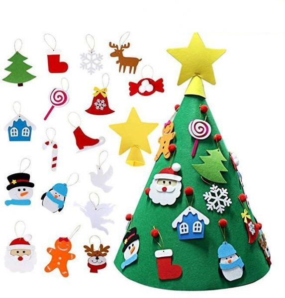 3d Diy Felt Christmas Tree With Hanging Ornaments Xmas Gifts For