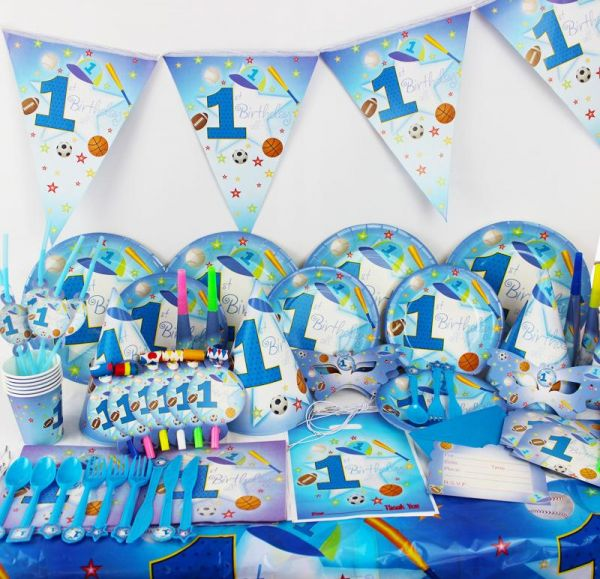 90pcs Set Six Person Meal One Year Old Baby Birthday Sports Theme Party Supplies Disposable Tableware Decoration Girls