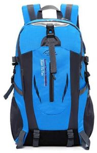 11e112a590 Blue USB Port Outdoor Sport Bag Hiking Mountaineering Pack Waterproof  Backpack Travel Backpacks for Men and Women Backpacking Bag Waterproof Rain  Cover ...