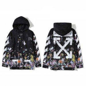 338af687e58a Off-white starry sky Pullover Hoodie Ins Hot Unisex Black Hooded Sweatshirt  For Men And Women