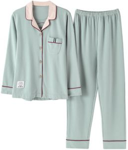 be36361c5c Heypro Comfy Pajamas Set Two-Piece Cotton Loungewear Button Front Top Pants  for Women - XL