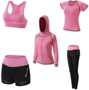 Summer and autumn 5 pca set suit fast dry clothes big size professional gym  running morning run yoga suit winter gym outfit track suit Sport Suit  Sports Set bb6220df5