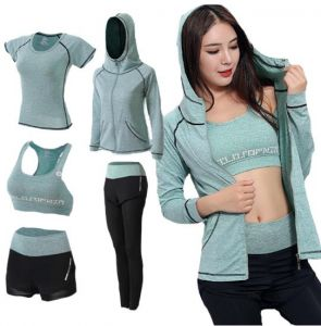 44e242d7634 5 pcs set Women s sports suit five-piece suit gym outfit track suit Sport  Suit Sports Set