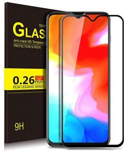 Pack 2 Oneplus 6T Tempered Glass Screen Protector One Plus 6T Oneplus6T Full Cover 9H 5D Ultra Thin Protective Film Guard Pack2 -Black
