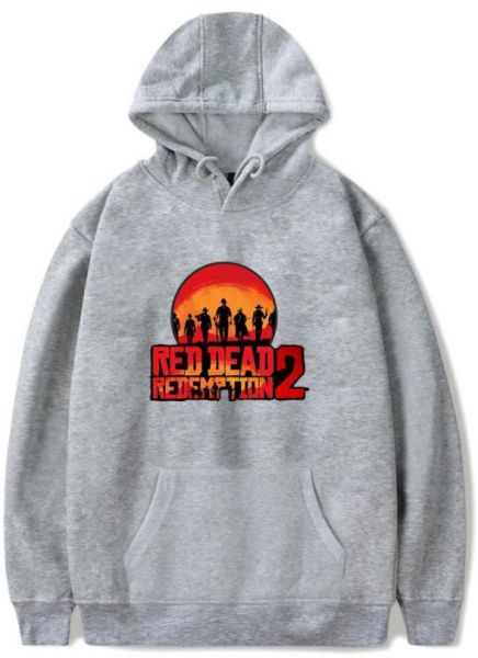e0ca66590493 Red Dead Redemption 2 Hoodie Casual Pullover 3D Print Grey Sweatershirt-XXL