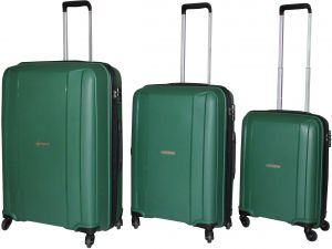 b6786bf6e258 HighFlyer Sleek Series 3 Pc Unbreakable Trolley Hard Luggage Bag Set - Green