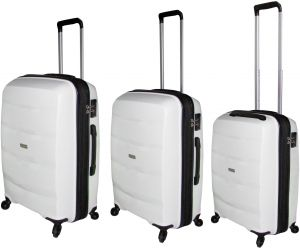8999a98e41b9 HighFlyer Bella Series 3 Pc Unbreakable Trolley Hard Luggage Bag Set - White