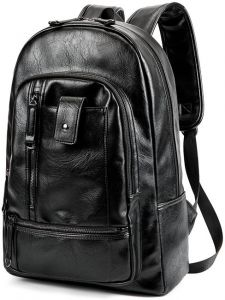 c93f9c8763b PU Leather Fashion Casual Backpack Large Capacity Travel School Students  Shoulder Bag Leisure Travel Backpacks for Men