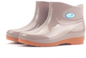 d9cdb83f1b Above Ankle Waterproof Boots Anti-Slip Rain Shoes Apricot for Women yx31-7UK