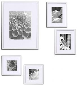 dd74ba49679 Gallery Perfect 5 Piece White Wood Photo Frame Wall Gallery Kit. Includes   Frames