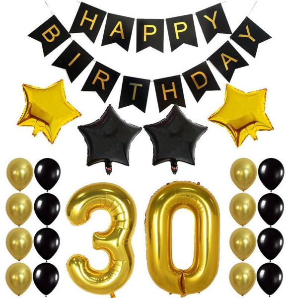 30 Party Decorations Kit Happy Birthday Banner 30th BalloonsGold