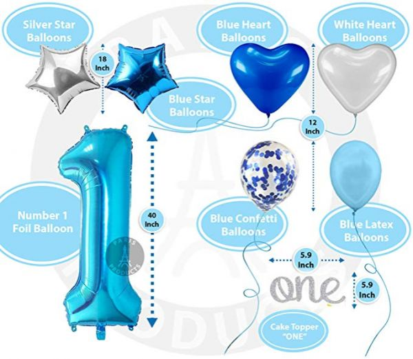 35 Pcs 1st Birthday Decoration For Baby Boy First Balloon Party Supplies Kit Banner Confetti Balloons Number One Cake Topper Blue