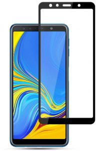 Samsung Galaxy A7 2018 (A750) 6.0 Inch 3D Curved Glass Coverage Full Glue Tempered Glass Screen Protector 5D Glass Shield Black