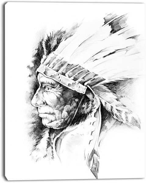 Design Art American Indian Head Tattoo Black And White Abstract