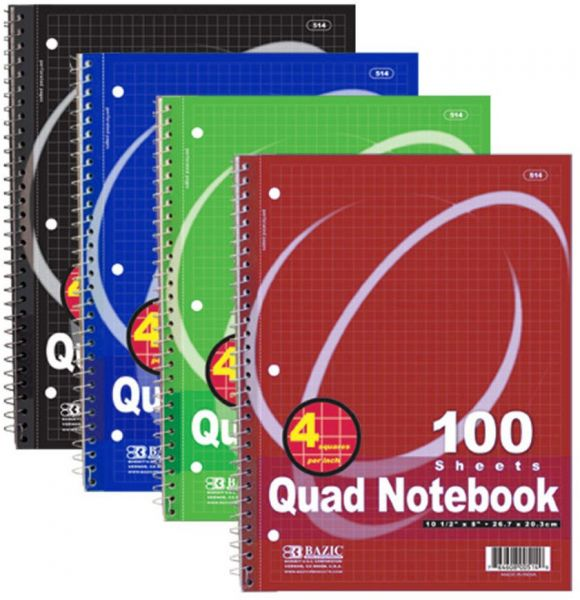 bazic quad ruled spiral notebook 4 squares per inch 100 sheets