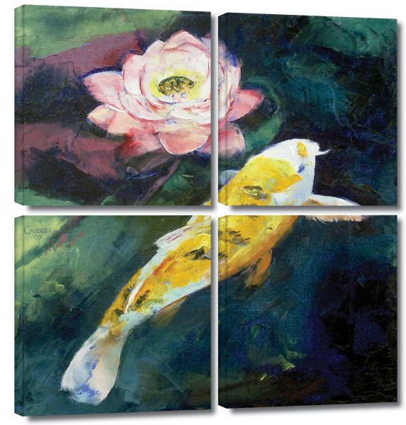 Artwall 4 Piece Michael Creese Koi And Lotus Flower Gallery