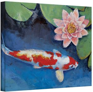 43166948dd91 ArtWall Koi and Water Lily Gallery Wrapped Canvas Art by Michael Creese