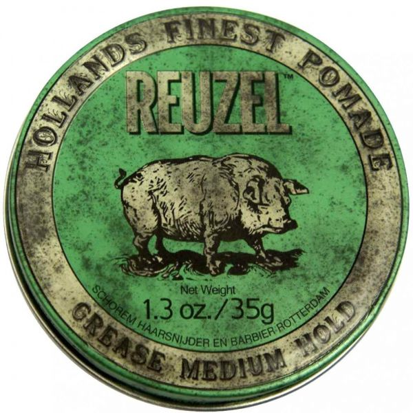 REUZEL Grease Hold Hair Styling Pomade Piglet Wax Gel, Medium, Green, 1.3  oz, 35g 136850d1e1