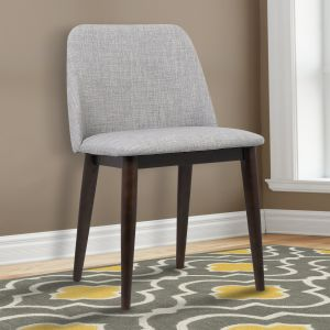 60501b7c647 Armen Living LCHOCHGRAY Horizon Dining Chair Set of 2 in Light Grey Fabric  and Brown Wood Finish