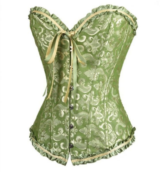 e023a013db3 Women s Gothic Bustiers Corsets Satin Boned Lace Up Overbust Bridal  Bodysuit for Christmas green S