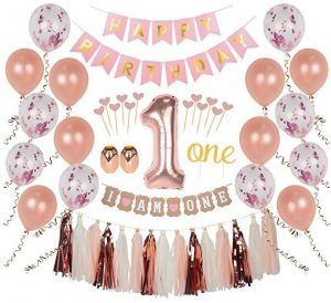 First Birthday Girl Decorations 1st Smash Cake Fun Party Set Rose Gold Pink Decor