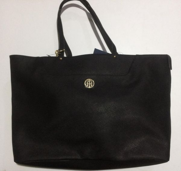 7b11f7d6b95 Tommy Hilfiger Black Leather large Tote Handbag for women with extra pouch