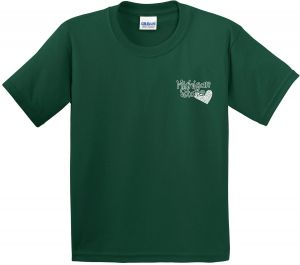 05152e765 Image One NCAA Michigan State Spartans Girls Patterned Heart Short Sleeve  Cotton T-Shirt, Youth Medium,ForestGreen