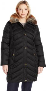 78def8e2b7651 Halifax Traders Women s Plus-Size Chevron Puffer Coat with Faux Fur Collar