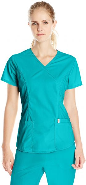 9ee6051b79d Code Happy Women's Bliss Mock Wrap Top with Certainty, Teal, X-Large ...