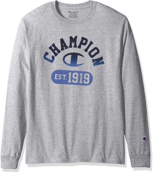 61238282 Champion Men's Classic Jersey Long Sleeve Graphic T-Shirt, Gym Fade ...