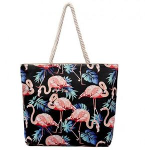 082a5c2a00 Heavy Duty Durable Canvas Tote Bag with Long Handles Zipper Closure Inner  Pocket Fashion Design Shopping Bag Dark Blue Flamingo