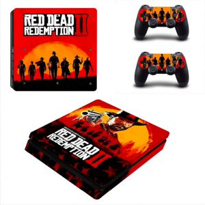 73bb33e3f409 Red Dead Redemption 2 PS4 Slim Skin Sticker Decal for PlayStation 4 Console  and 2 Controller Skin PS4 Slim Skin Sticker Vinyl