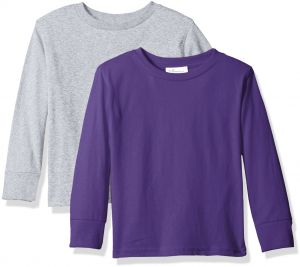 b684b7107 Clementine Baby Girls' Little Boys' Everyday Toddler Long Sleeve T-Shirts  Crew 2-Pack, Purple/Heather Grey, 4T