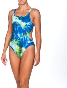ae6a7cdc22ba arena Women s Palm Challenge Maxlife Thin Strap Open Back Onepiece  Swimsuit