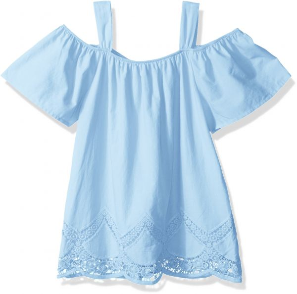 a8047048fd317 My Michelle Big Girls  Cold Shoulder Top with Scalloped Crochet ...