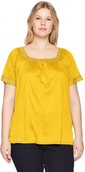 79ebf73c987 Jason Maxwell Women s Plus Size Short Sleeve Square Neck Lace Trimmed Top